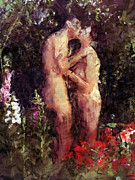 Naked Prints - Love Me In The Garden Print by Kurt Van Wagner