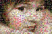 Photomosaic Prints - Love me with flowers Print by Gilberto Viciedo