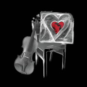 Violine Posters - Love melody Poster by Manfred Lutzius