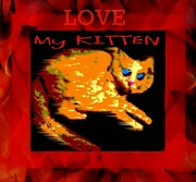Paw Mixed Media Posters - Love My Kitten Poster by Sherry Gombert