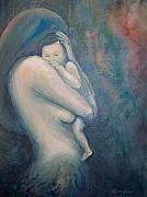 Family Love Paintings - Love of a Mother by Leisa Collins