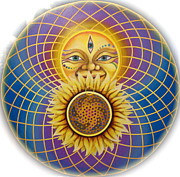 Grid Paintings - Love of the Sun by Morgan  Mandala Manley