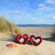 Library Digital Art - Love on a beach by Martin  Fry