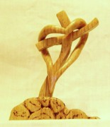 Woodcarving Sculpture Originals - Love on a Cross by Russell Ellingsworth