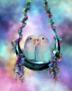 Lovebird Posters - Love On A Moon Swing Poster by Carol Cavalaris