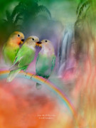 Parrot Art Print Posters - Love On A Rainbow Poster by Carol Cavalaris