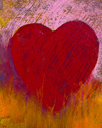 Hearts Pastels Posters - Love on Fire Poster by David Patterson