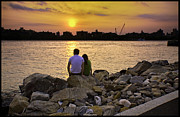 River View Metal Prints - Love On The Rocks In Brooklyn Metal Print by Madeline Ellis
