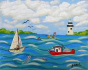 Yacht Paintings - Love our Gulf by JoAnn Wheeler