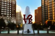 Fountain Framed Prints - Love Park - Love Conquers All Framed Print by Bill Cannon