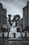 Fountain Digital Art Photos - Love Park BW by Susan Candelario