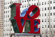 Red Buildings Posters - Love Park in Center City - Philadelphia Poster by Brendan Reals