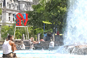 """love Park""  Framed Prints - Love Park in the Summertime Framed Print by Andrew Dinh"
