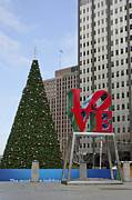 Red Buildings Framed Prints - Love Park Philadelphia - winter Framed Print by Brendan Reals