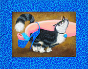 Humorous Cat Paintings - Love Pump Blue by Baron Dixon