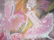 Ballet Dancers Paintings - Love Rose Ballet by Judith Desrosiers