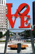 Landscapes Sculpture Acrylic Prints - Love sculpture in Philadelphia Acrylic Print by Carl Purcell