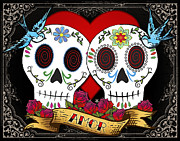 Tattoo Posters - Love Skulls II Poster by Tammy Wetzel