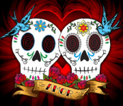 Romantic Digital Art Prints - Love Skulls Print by Tammy Wetzel