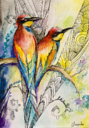 Birds Drawings Acrylic Prints - Love Acrylic Print by Slaveika Aladjova