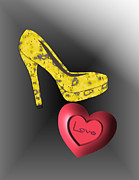 Footwear Love Posters - Love Stiletto Poster by Mira Dimitrijevic
