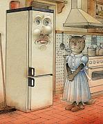 Cat Drawings Prints - Love Story Print by Kestutis Kasparavicius
