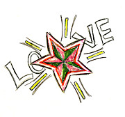 Burst Drawings Prints - Love Print by Tessa Hunt-Woodland