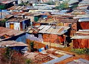 Colorful Village Prints - Love Thy Neighbor Print by Roelof Rossouw
