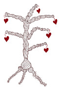 Abstract Drawing Drawings - Love tree by Frank Tschakert