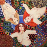 Klimt. Nude Woman Posters - Love Triangle Poster by Anni Morris