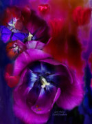 Romantic Floral Posters - Love Tulips Poster by Carol Cavalaris
