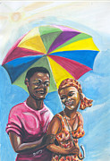 Umbrella Drawings Framed Prints - Love Under A Tropical Sun Framed Print by Emmanuel Baliyanga