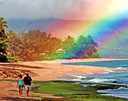 Laniakea Beach Prints - Love Under the Rainbow Print by Joel Lau