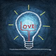 Blackboard Posters - Love Word In Light Bulb Poster by Setsiri Silapasuwanchai