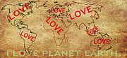 Planet Map Digital Art Posters - Love World Map Poster by Georgeta  Blanaru