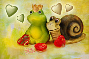 Frog Mixed Media Posters - Love you Poster by Angela Doelling AD DESIGN Photo and PhotoArt