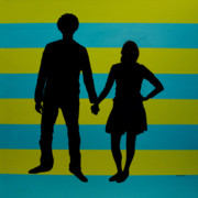 Couples Painting Prints - Lovebirds in Silhouette Print by Ramey Guerra