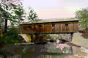 Covered Bridge Mixed Media Prints - Lovejoy Covered Bridge Print by Charles Shoup