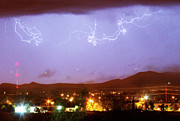 Unusual Lightning Posters - Loveland Colorado Front Range Foothills  Lightning Thunderstorm Poster by James Bo Insogna