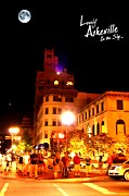 First Lady Digital Art Prints - Lovely Asheville Night Downtown Print by Ray Mapp
