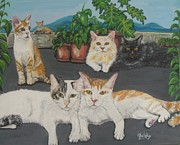 Cat Paw Print Posters - Lovely Cats Poster by Paintings by Gretzky