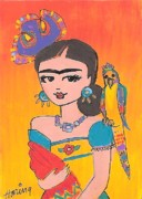 Folk Realism Paintings - Lovely Frida and her Parrot by Karen Haring