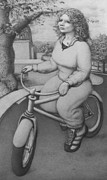 Jogging Drawings Prints - Lovely Little Plump Lady Print by Louis Gleason