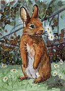 Love Posters - Lovely Rabbits - Daisies for you Poster by Svetlana Ledneva-Schukina