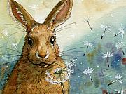 Valentine Prints - Lovely Rabbits - With dandelions Print by Svetlana Ledneva-Schukina