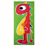Hanging Pastels Originals - LoVELY rED dINOSAUR by Mara Morea