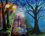 Nightime Paintings - Lovely Stroll By The Lake by Leslie Allen