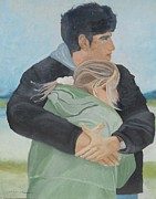 Couples Paintings - Lovers by Angela Inguaggiato