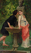 Modesto Paintings - Lovers by a Fountain by Modesto Faustini