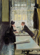 Restaurant Cafe Prints - Lovers in a Cafe Print by Gotthardt Johann Kuehl